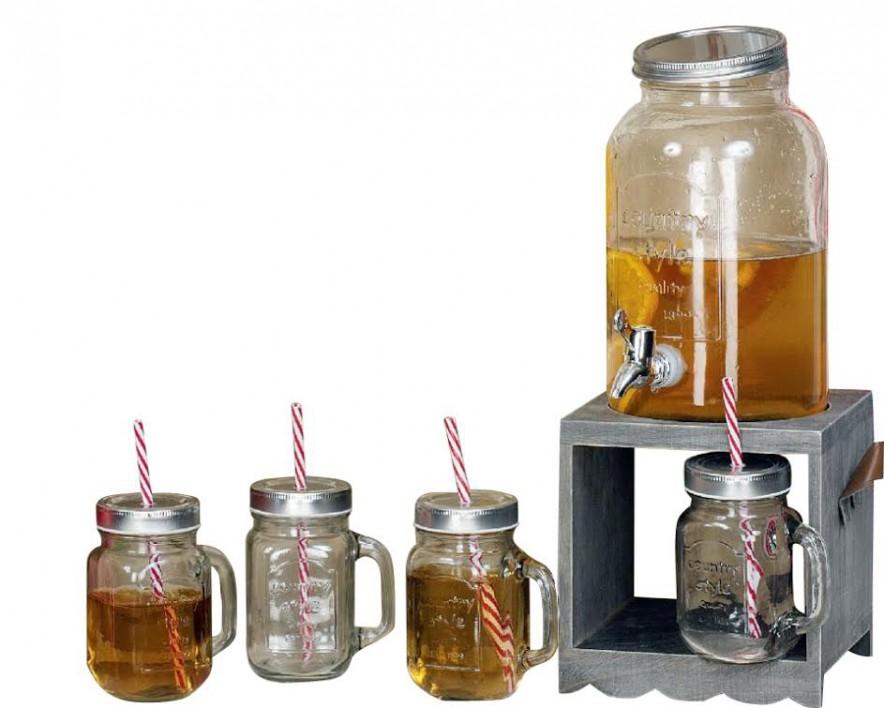 6er set glaskrug mit zapfhahn 3 5liter trinkglas mit strohhalm und gestell minhacasa edle. Black Bedroom Furniture Sets. Home Design Ideas